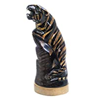 "WitnyStore Tiger Sculpture Water Buffalo Horn Carved 8"" Feng Shui Decor Collectible Gift"