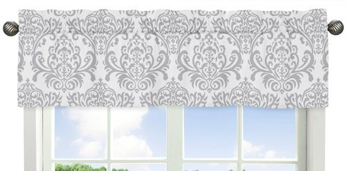 Sweet Jojo Designs Skylar Collection Gray and White Damask Print Girls Window Valance