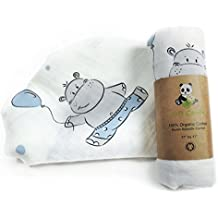 100% Organic Cotton Muslin Swaddle Blanket Double Layer Extra Large (Blue Hippo) by Soft Cuddle