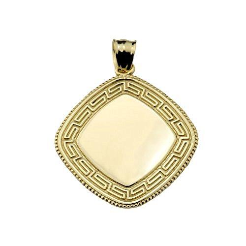 (10k Yellow Gold Engravable Greek Key Charm Pendant)