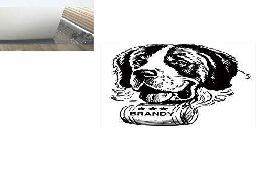 Decorative Privacy Window Film/Sketch of Saint Bernard Rolling a Keg of Brandy Whiskey Stars Retro Decorative/No-Glue Self Static Cling for Home Bedroom Bathroom Kitchen Office Decor Black and White ()
