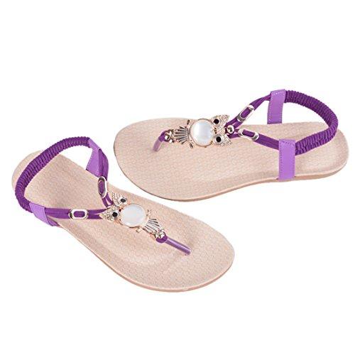 Vertvie Women's Beads Owl Flat Bohemia T-Strap Elastic Slingback Thong Sandals Violet xdu5xPOaLi