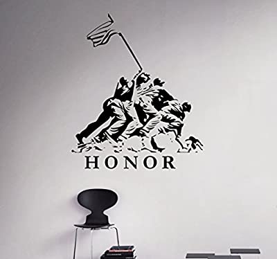 Military Soldier Vinyl Decal Marines Honor Wall Sticker Army Home Wall Interior Bedroom Decor Wall Graphics 21(arm)
