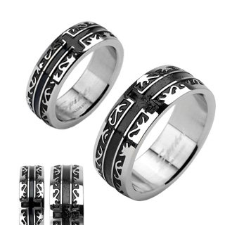 STR-0028 Stainless Steel Black IP Tribal with a Cross Ring; Comes With Free Gift Box (10) (Tribal Stainless Steel Cross)