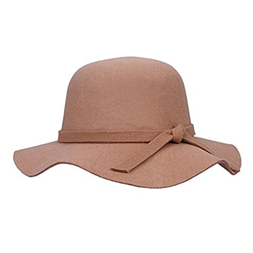 Pretty Floppy Hats,Dealzip Inc Classic Girls Floppy Hat,Vintage Style Kids Girls Wide Brim Imitation Wool Felt Bowler Fedora Cloche Floppy Beach Sun Hat Cap with Lovely Bow Band (Khaki)