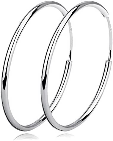 YFN Women Unisex 925 Sterling Silver Simple Polished Big Round Circle Earrings