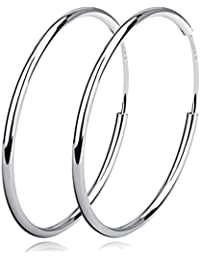 925 Sterling Silver Polished Circle Endless Earrings Hoops Diameter 20,30,40,50,60mm