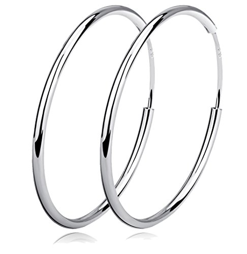 YFN Hoop Earrings Sterling Silver Polished Round Circle Endless Earrings Diameter 20,30,40,50,60mm ()