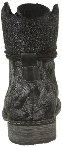 Remonte D4389, Botas Militar para Mujer Negro (Schwarz-Metallic/schwarz-silber / 02)