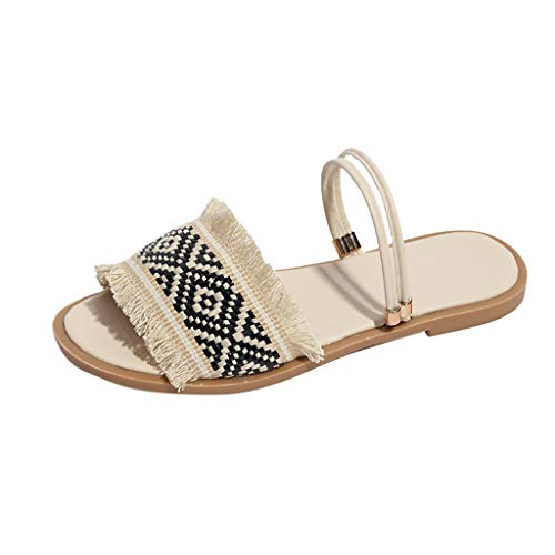 Sole Rubber Stitch (HIRIRI Women' Woven Lace Fabric Stap Sandals & Slippers Exotic Style Flat Bottom Round Toe Slip-On Summer Casual Sandal Black)