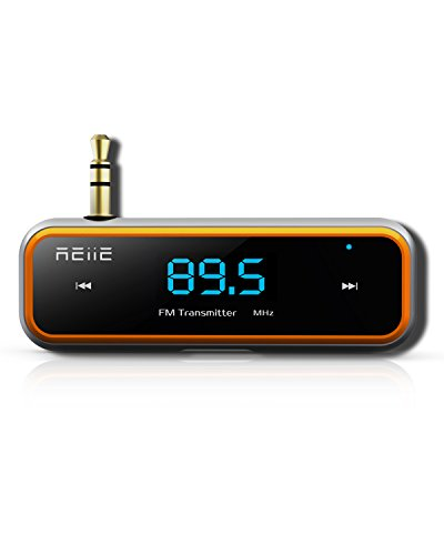 FM Transmitter REIIE Wireless Radio Adapter Car Kit Wireless Talking & Music Streaming Dongle+ Built-in 3.5mm Aux Port