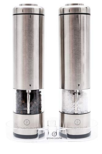 (Electric Salt and Pepper Grinder Set by Grove Cuisine - Battery Operated Shakers with LED Lights and Ceramic Grinders - Stainless Steel Mills with Acrylic Stand - Gourmet Cooking for Perfect Seasoning)