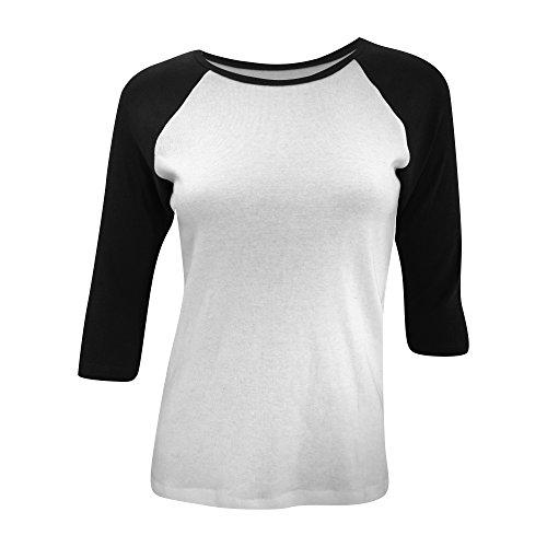 - Bella Ladies/Womens 3/4 Sleeve Contrast Long Sleeve T-Shirt (8-10 US) (White/Black)