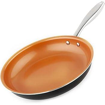 MICHELANGELO Copper Frying Pan Nonstick, 11 Inch Frying Pan with Ultra Nonstick Titanium Coating, Nonstick Skillet, Copper Pan, Titanium Frying Pan Nonstick - 11 Inch