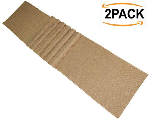Cotton Craft - 2 Pack - Jute Burlap Table Roll 12 Inches x 3 Yards Each - Total 6 Yards - Natural Burlap - Overlock Sewn Edges - Perfect for Home Décor, Projects, Weddings, Crafts and Much More (Burlap Table)