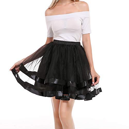 Women 80's Plus Size Tutu Skirt Two Layered Tulle Petticoat Party Tutu ()