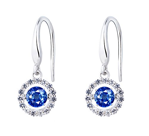 SERAFINA Dangle Earrings, Lab Created, Blue and White Sapphire in Sterling Silver by SERAFINA