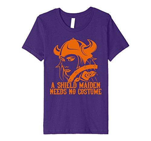 Kids Viking Shield Maiden Needs No Costume Halloween T Shirt 8 Purple