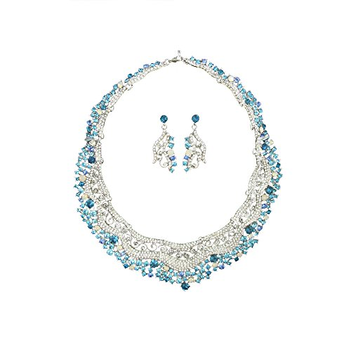 [Twinkle Metal Crystal Bijouterie Set - Gala Set - Necklace and Matching Earrings (Princess Teal)] (Elephant Ears And Nose Costume)
