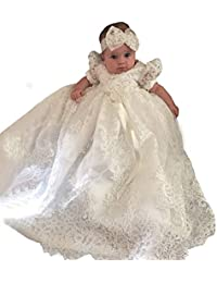 2ebc10ba5446 Christening Gown Baby Girl Lace Toddler Dedication Dress for Age 3-24 months