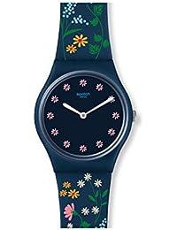 Women's Flower Carpet GN256 Blue Silicone Swiss Quartz Fashion Watch