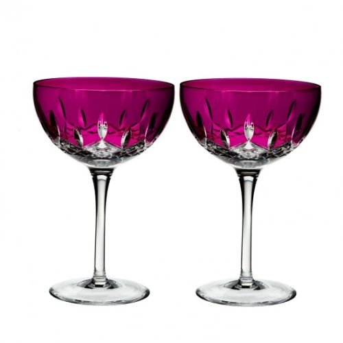 Waterford Lismore Pops Set of 2 Cocktail Glasses Hot Pink