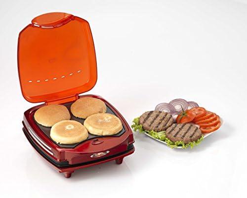 Ariete 185 Party Time – Macchina per hamburger, 1200 W, doppia piastra antiaderente, colore: rosso