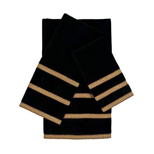 Sherry Kline Triple Row Gimp Black 3-Piece Decorative Embellished Towel Set by Sherry Kline (Image #1)