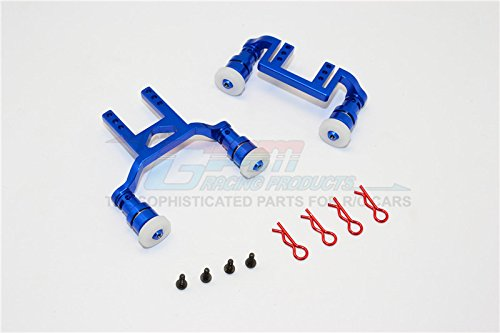 - Traxxas LaTrax Teton Upgrade Parts Aluminum Front+Rear Body Mount & Magnet Post - 1 Set Blue