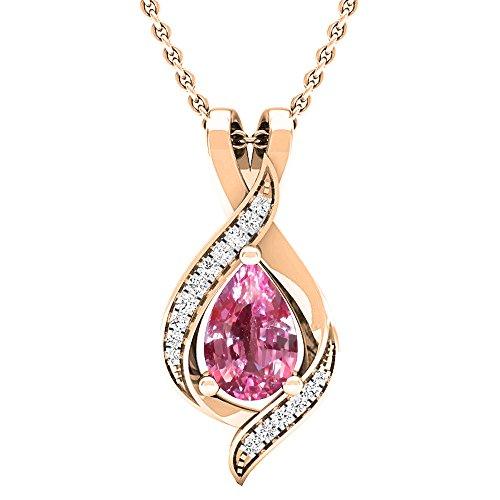 Dazzlingrock Collection 18K Pear 9X6 MM Lab Created Pink Sapphire & Round Diamond Ladies Pendant, Rose Gold
