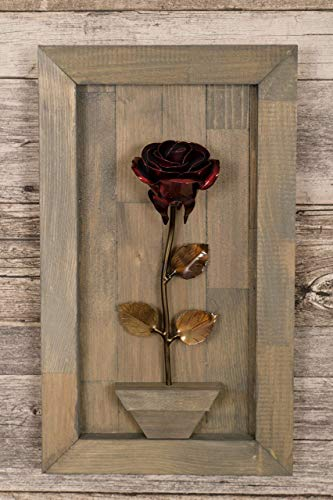 Personalized Gift Hand-Forged Wrought Iron Red Metal Rose with Wood Hanging
