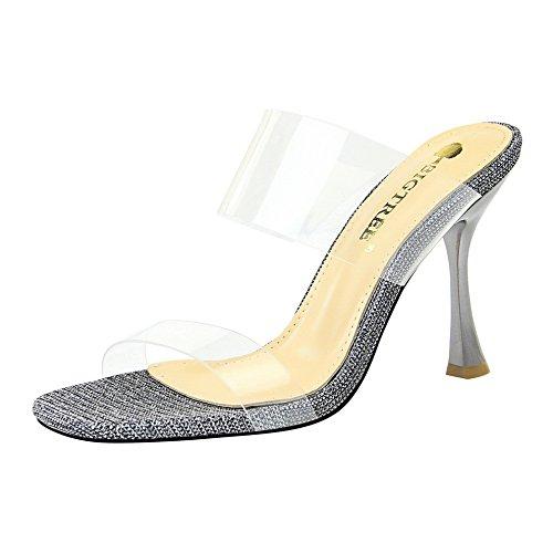 fendue carrés les chaussures et Silver Qiqi avec transparente scintillante chaussons Femme Xue cool avec fille à haut rosée talon de verres q6xwv