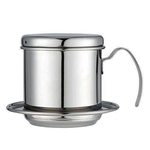 - heaven2017 Stainless Steel Coffee Pot Press-type Drip Cup Maker Extractor Teapot Vietnamese Coffee Maker Silver