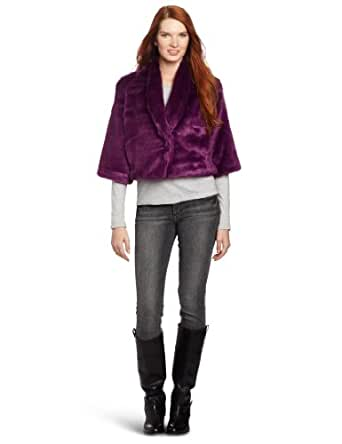 Vince Camuto Women's Faux Colored Fur Jacket, Sweet Plum, X-Small