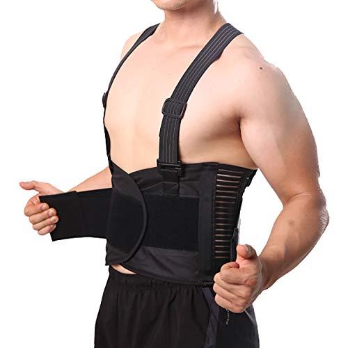Pain Belt Back Corset for Men Heavy Lift Work Back Support Brace Shoulder Strap Lumbar Support Belt Posture Corrector Unsex(L,BLACK)