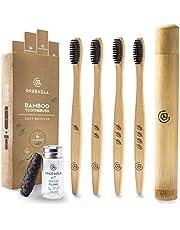 Greenzla Bamboe tandenborstelset (4-pack) met reistandenborsteletui & carbonfloss in klein glas Natural   Milieuvriendelijke tandenborstels voor volwassenen BPA-vrije houten tandenborstels