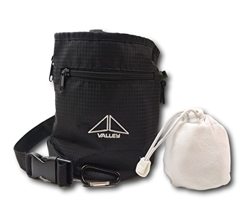 Valley Climbing Chalk Bag with Chalk Ball, Belt, Carabiner Clip, Brush Loop and Zippered Pockets for Climbing, Bouldering, Gymnastics, Cross Fit and Lifting