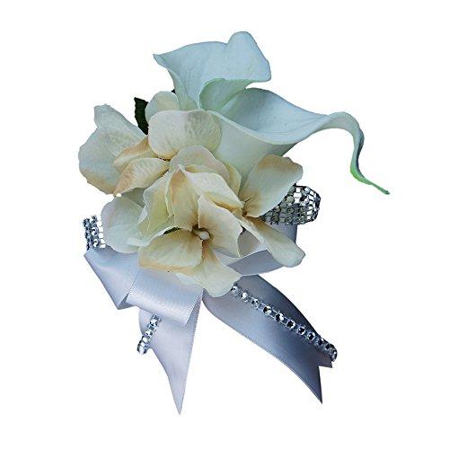 Wrist Corsage - Double Calla Lily with Hydrangea - Silk Flower (Wrist Corsage Prom)