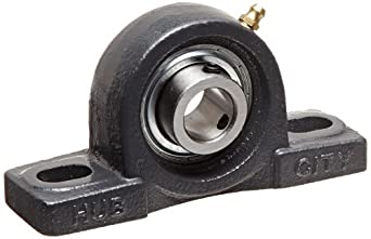 "Hub City PB251URX3/4 Pillow Block Mounted Bearing, Normal Duty, High Shaft Height, Relube, Setscrew Locking Collar, Narrow Inner Race, Cast Iron Housing, 3/4"" Bore, 1.47"" Length Through Bore, 1.311"" Base To Height"