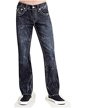 Men's Straight Leg Relaxed Fit Big T w/ Flap Jeans in Black Rogue Chase