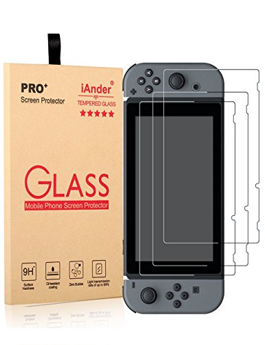 [3-PACK] Nintendo Switch Screen Protector,iAnder Tempered Glass Screen Protector for Nintendo Switch 2017 [0.3mm Ultra Clear Scratch Proof High Definition] [video - Videogame Glasses