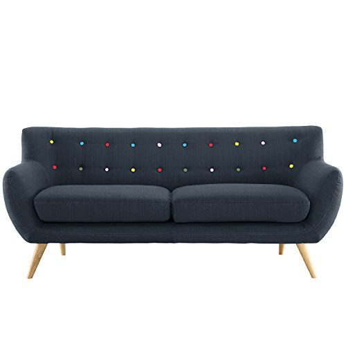 Mid Century Modern Style Sofa / Love Seat Red, Grey, Yellow, Blue - 1 Seat, 2 Seat, 3 Seat (Grey Blue w/ Assorted Colored Buttons, 2 Seater)