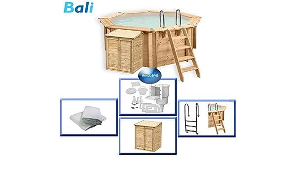 Piscina de madera Bali de Paradies, incluye caseta de bomba ...