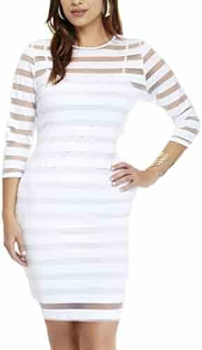 f6c3679deb9 SELX Women's Bodycon Round Neck Mesh Spliced Plus Size Party Mini Dress