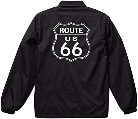 ジャケット メンズ コーチジャケット 撥水性 ROUTE66 ルート66 国道 ヴィンテージ プレート 標識 防風 ナイロン アウター