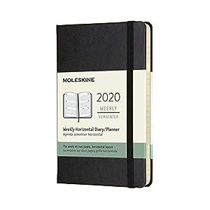 Moleskine - Agenda Semanal Horizontal de 12 Meses 2020, Tamaño Pequeño 9 x 14 cm, 144 Páginas, Negro (AGENDA 12 MOIS)