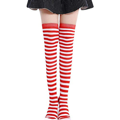 d886eda683a Pausseo Women Tights High Spcks Over Girls Winter Cotton Stripe Warmer Lady  Soft Cotton Socks Knee
