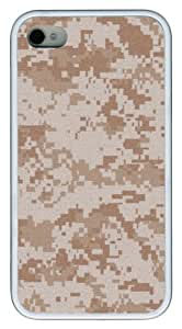 Desert Camo pattern two TPU White Case for iphone 4S/4