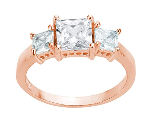 - CloseoutWarehouse Princess Cut Cubic Zirconia Three Stones Ring Rose Gold-Tone Plated Sterling Silver Size 3