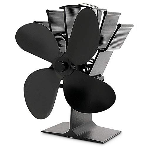 Best Design Black Fireplace 4 Blade Heat Powered Stove Fan Log Wood Burner Eco, Wood Stove Heat - Wood Stove Fans, Wood Stove Heat Recovery, Fireplace Stove Fans, Fan for Woodstove by BAPES